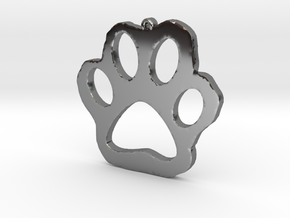Paw Print Necklace Pendant in Fine Detail Polished Silver