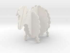 Wooden Sheep B 1:24 in White Natural Versatile Plastic