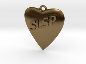 Monogram Heart Pendant in Polished Bronze