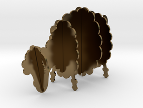 Wooden Sheep A 1:24 in Polished Bronze