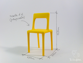 Uncomfortable chair No1 - 1:6 scale in Yellow Strong & Flexible Polished
