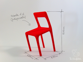Uncomfortable chair No2 - 1:6 scale in Red Strong & Flexible Polished