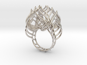 Ring / size 6 1/2 US in Rhodium Plated Brass