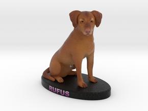 Custom Dog Figurine - Rufus in Full Color Sandstone
