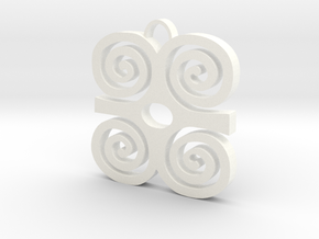 Adinkra Collection: Dwannimmen - The Strength Pend in White Processed Versatile Plastic