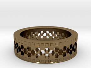 Ring With Hexagonal Holes in Polished Bronze