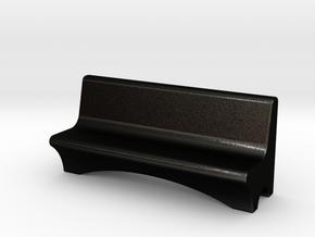 HO Scale Concrete Bench in Matte Black Steel