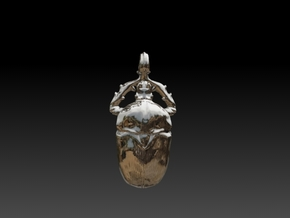 7cm Scarab Beetle Pendant - v3  in Raw Silver