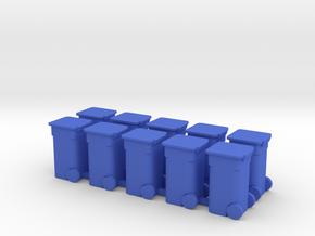 Rollaway Trash Bin HO Scale in Blue Strong & Flexible Polished