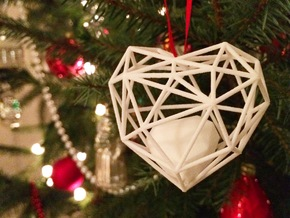 Heart Christmas ornament in White Natural Versatile Plastic