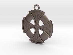 Trefoil Cross 002 in Polished Bronzed Silver Steel