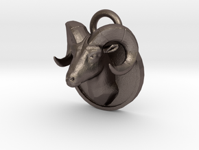 Bock-pendant hollow in Polished Bronzed Silver Steel