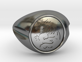 DRAGON Men Ring in Polished Silver