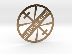 JESUS IS ALIVE in Natural Brass