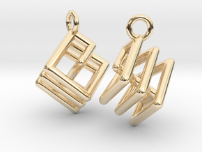 Ring-in-a-Cube Ear Rings in 14k Gold Plated Brass