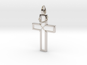 Cross & Thorns Frame Pendant in Platinum