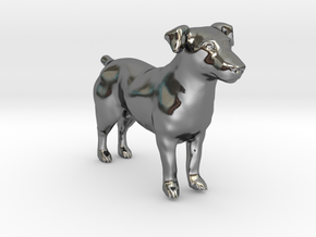 Standing Jack Russell Terrier in Fine Detail Polished Silver
