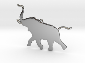 Trumpeting Elephant in Fine Detail Polished Silver