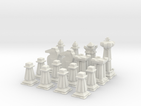 Mini Chess Set - One Player's Pieces in White Natural Versatile Plastic