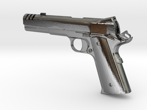 1:12 scale 1911 pistol with compensator in Polished Silver