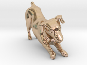 Stretching Jack Russell Terrier in 14k Rose Gold