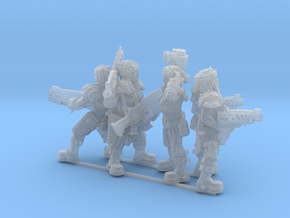 Female Miner Gang with Mixed weapons in Smooth Fine Detail Plastic