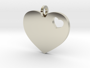 Heart Pendant Simple w/ring in 14k White Gold