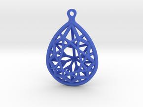 3D Printed Diamond Pear Drop Earrings in Blue Processed Versatile Plastic