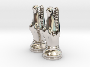 Pair Chess Crocodile Big / Timur Luxm Sea-Monster in Rhodium Plated Brass