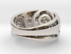 Spiral ring - Size 5 in Rhodium Plated Brass
