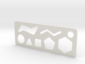 Organic Chemistry Stencil Keychain in White Natural Versatile Plastic