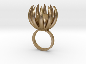 Blooming Ring size UK 0 in Polished Gold Steel