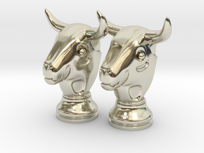 Pair Chess Bull Big | Timur Thaur in 14k White Gold