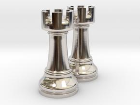 Pair Rook Chess Big Solid | TImur Rukh in Platinum