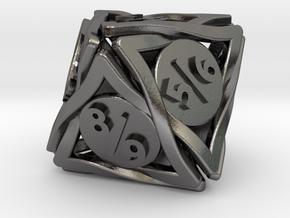 Large 'Twined' Dice D8 Spindown Tarmogoyf P/T Die in Polished Nickel Steel