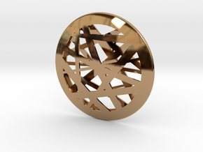 Circular Abstract Line Pendant - Large in Polished Brass