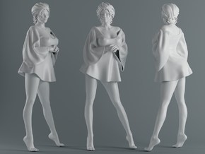 Skirt Girl-006 scale 1/10 in White Strong & Flexible Polished