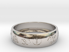 Size 12 FOUR SYMBOLS A  in Rhodium Plated Brass