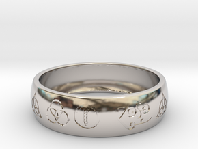 Size 11 FOUR SYMBOLS A  in Rhodium Plated Brass