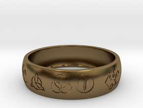 Size 8 FOUR SYMBOLS A in Polished Bronze