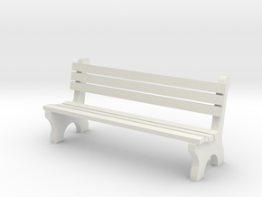 6' Park Bench 1:48 in White Natural Versatile Plastic