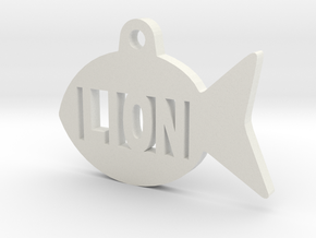 Gold Fish Pet ID Tag - Lion in White Natural Versatile Plastic