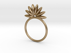 Demi Flower Ring in Polished Gold Steel