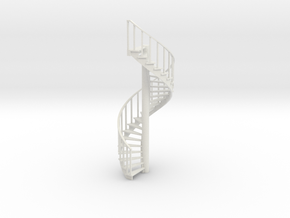 15' Spiral Stair Left Railing 1:48 in White Strong & Flexible