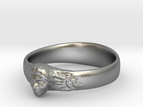 Ring Womans Face in Natural Silver