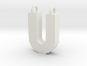 Alphabet (U) in White Natural Versatile Plastic
