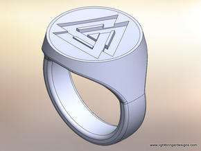 Valknut Signet Ring in Natural Silver