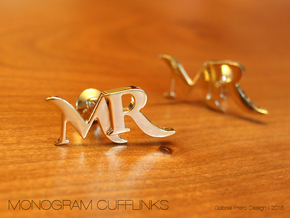 Monogram Cufflinks MR in 18k Gold Plated Brass