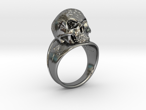 Silver Skull Ring Engraved Size 12 in Fine Detail Polished Silver
