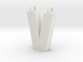 Alphabet (V) in White Natural Versatile Plastic